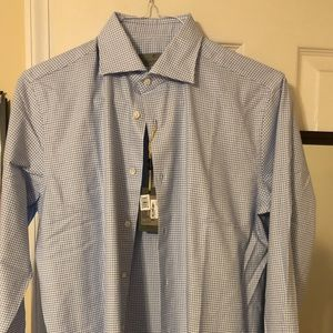 Canali Blue and white patterned dress shirt
